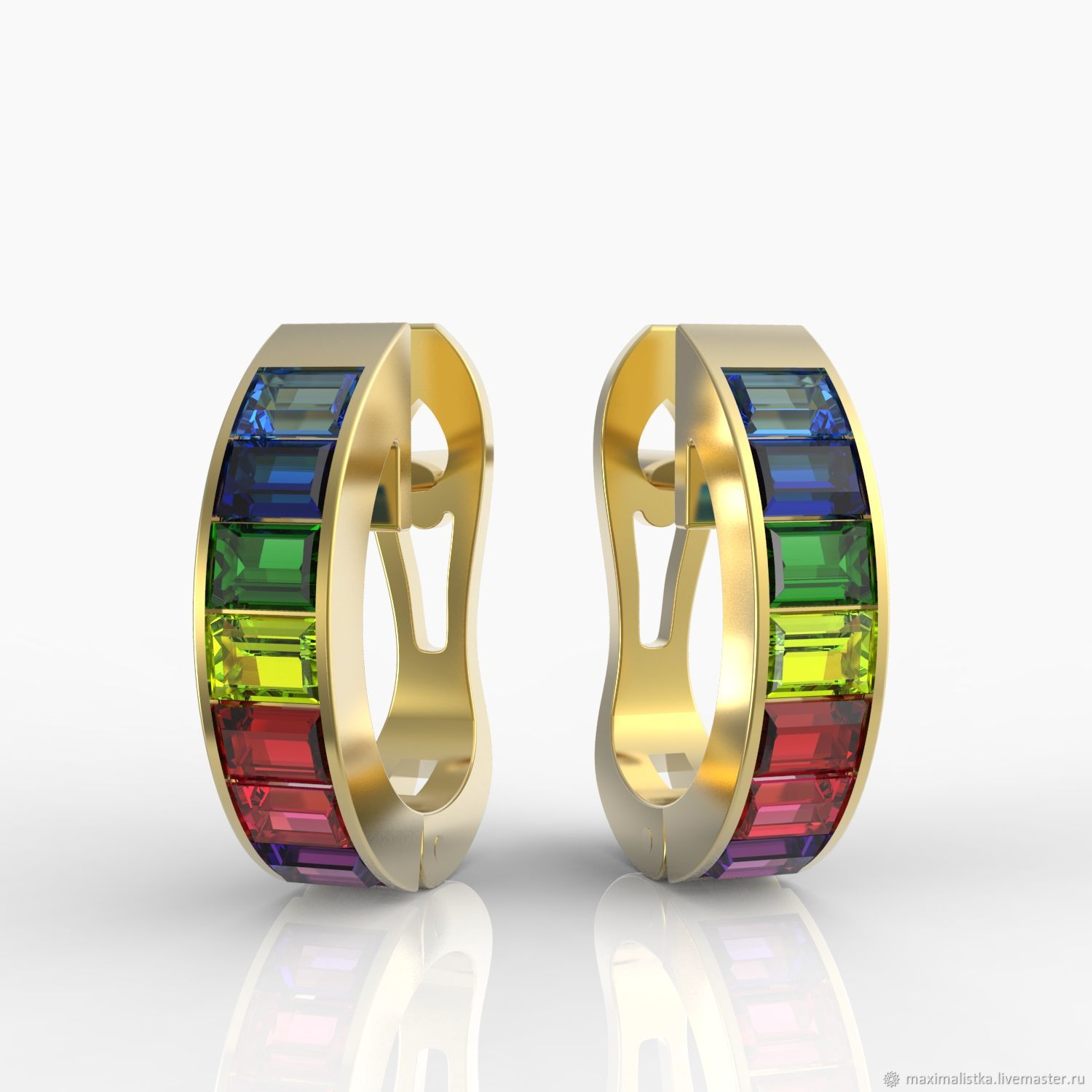 Gold earrings 'Rainbow' with natural stones, Earrings, Moscow,  Фото №1