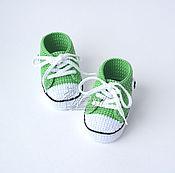 """Работы для детей, ручной работы. Ярмарка Мастеров - ручная работа Пинетки кеды """"Star"""" зелёные. Handmade."""