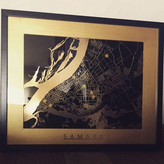 Город ручной работы. Ярмарка Мастеров - ручная работа. Купить Карта Самары. Handmade. Подарок на любой случай, карта мира