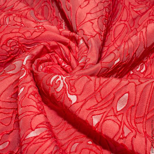 Шитье ручной работы. Ярмарка Мастеров - ручная работа. Купить Жаккард плательно-костюмный ткань-клоке ROBERTO CAVALLI  коралловая. Handmade.