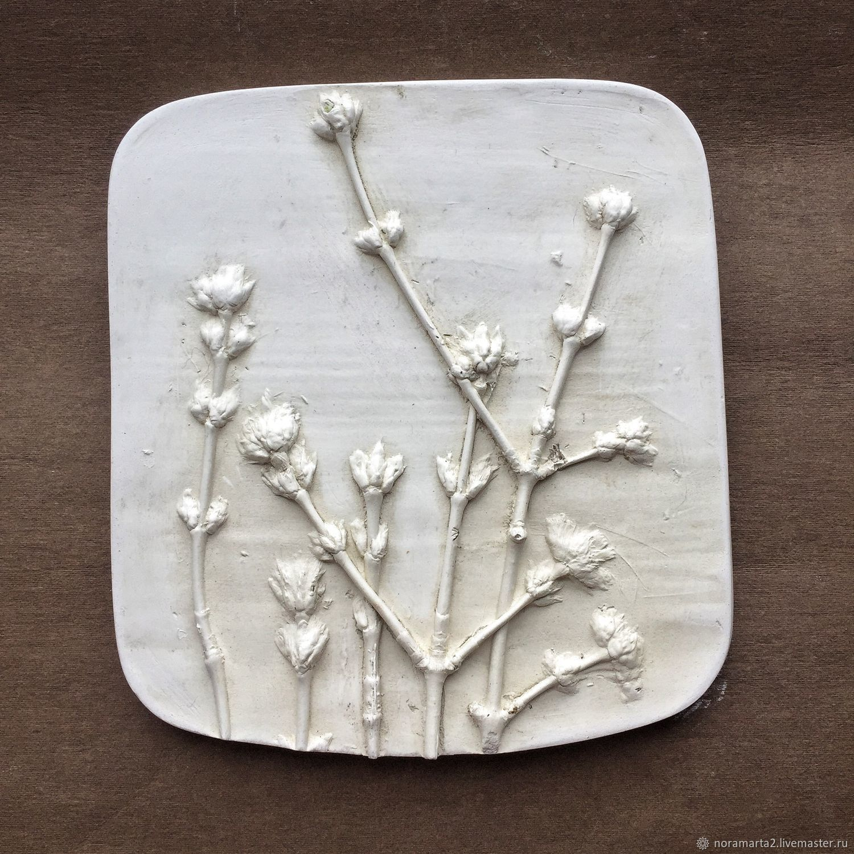 Оттиски растений Гипсовое панно Картины цветов