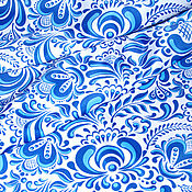 """Материалы для творчества ручной работы. Ярмарка Мастеров - ручная работа Ткань """"Гжель №5"""". Handmade."""