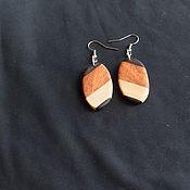 Украшения ручной работы. Ярмарка Мастеров - ручная работа Серьги из трех пород дерева. Handmade.