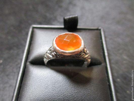 Кольца ручной работы. Ярмарка Мастеров - ручная работа. Купить Авторское орнаментальное кольцо с сердоликом из Индии. Handmade. Рыжий