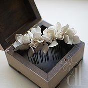 Свадебный салон handmade. Livemaster - original item pearl comb with hydrangeas and roses. Handmade.