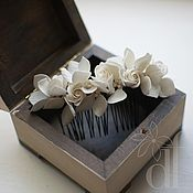 Свадебный салон ручной работы. Ярмарка Мастеров - ручная работа Жемчужный гребень с гортензиями и розочками. Handmade.