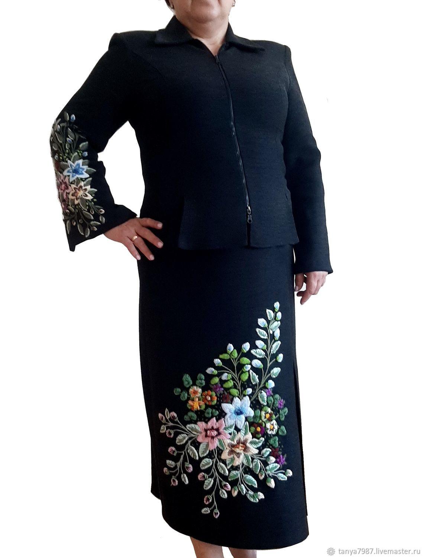 Вышивка объёмными цветами, Костюмы, Москва,  Фото №1