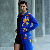 Одежда handmade. Livemaster - original item Blue,knits a cardigan with an oversized embroidery of