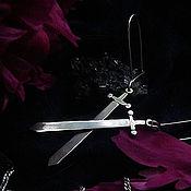 Серьги SWORD серебряные