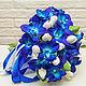 Букеты ручной работы. Букет невесты из полимерной глины с синими орхидеями. Юлия Литус. Интернет-магазин Ярмарка Мастеров.