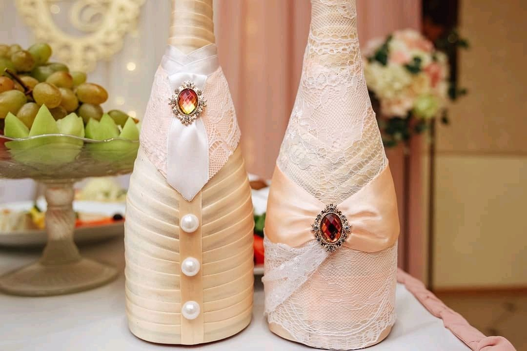 Свадебный декор шампанского, Оформление бутылок, Владимир,  Фото №1