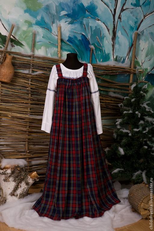 """Этническая одежда ручной работы. Ярмарка Мастеров - ручная работа. Купить Сарафан """"Шотландка"""". Handmade. В клеточку, сарафан, трикотаж"""
