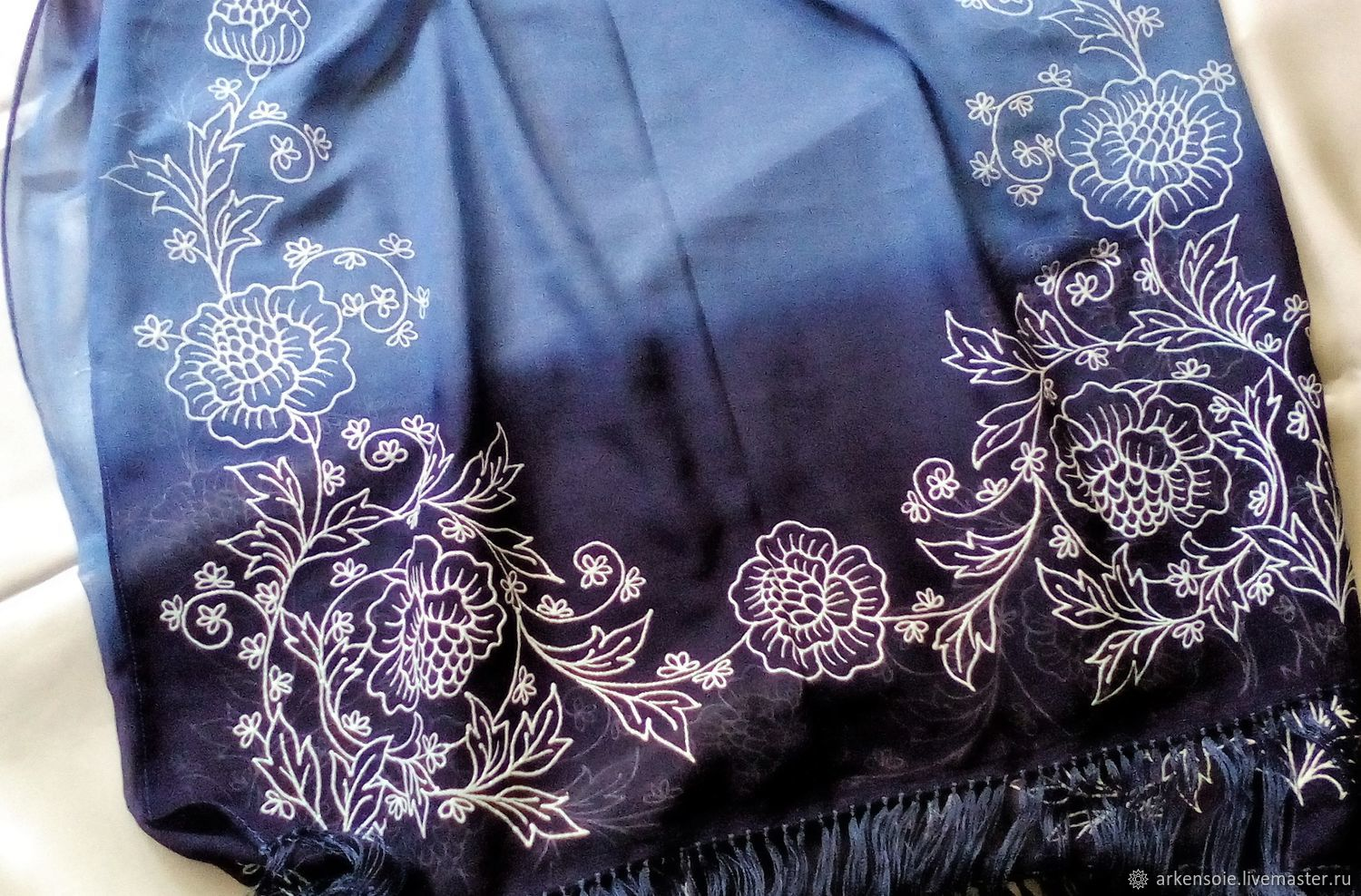 Rose black stole with tassels,200h65 cm, painted