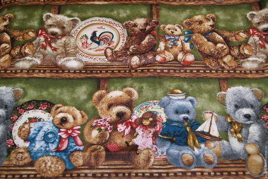 Куклы и игрушки ручной работы. Ярмарка Мастеров - ручная работа. Купить ткань бордюрная с медвежатами. Handmade. Медвежата, ткань с медвежатами