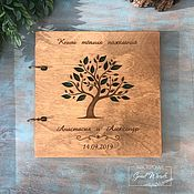 Свадебный салон handmade. Livemaster - original item Wooden book wishes. Tree with leaves. Handmade.