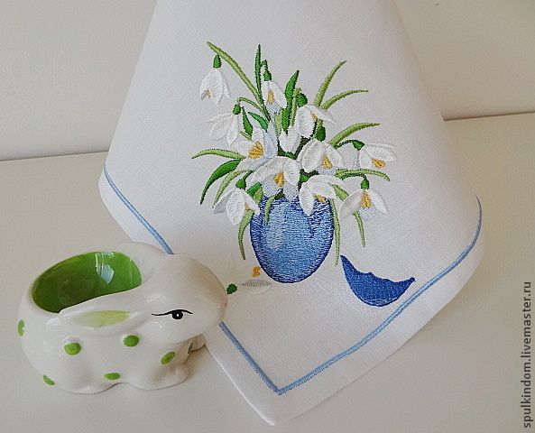 Easter napkin with embroidered `Snowdrops`(white) `Sulkin house` embroidery workshop