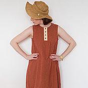 Одежда ручной работы. Ярмарка Мастеров - ручная работа Летнее платье без рукавов, оранжевое в клетку, с ассиметричным низом. Handmade.