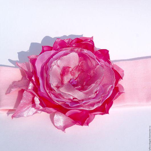 Заколки ручной работы. Ярмарка Мастеров - ручная работа. Купить «Розовый пион» («Pink Peony»).. Handmade. Розовый, повязка для девочки