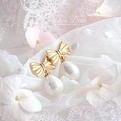 Украшения handmade. Livemaster - original item Earrings bows with pearls Mallorca Drop