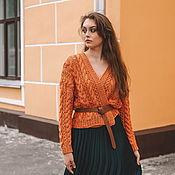 handmade. Livemaster - original item Jackets: Summer jacket in orange color made of oversize cotton. Handmade.