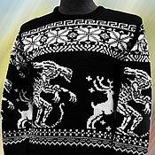 Одежда ручной работы. Ярмарка Мастеров - ручная работа Тату-свитер -  Охота (Чужие против оленей), чёрный. Handmade.