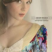 Одежда ручной работы. Ярмарка Мастеров - ручная работа Блуза авторская №2, корсет из льна и шёлка цвета раннего утра.. Handmade.