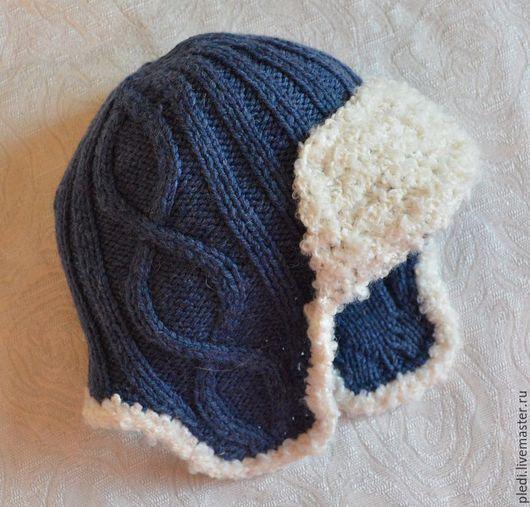 Шапки и шарфы ручной работы. Ярмарка Мастеров - ручная работа. Купить Детская шапочка с ушками, джинсовый ряд. Handmade. Синий