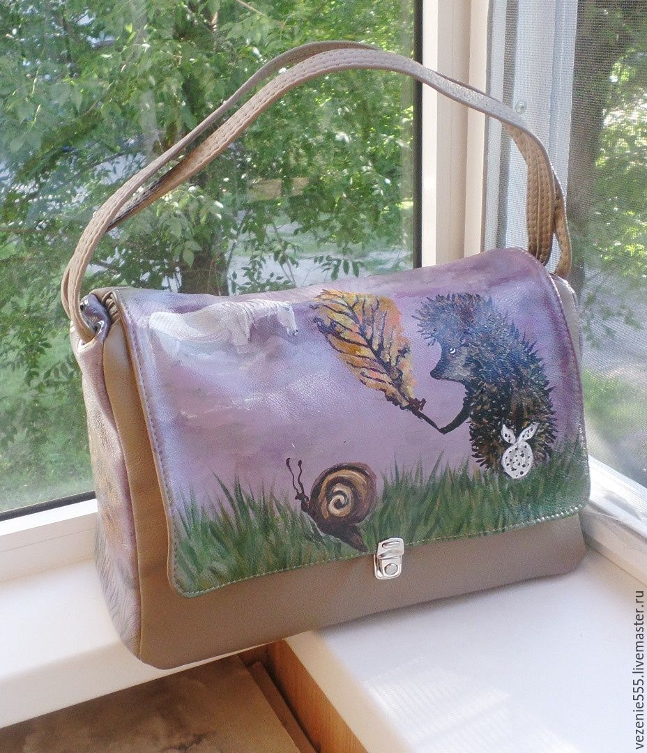 Leather women's bag with hand-painted to order for Polina, Classic Bag, Noginsk,  Фото №1