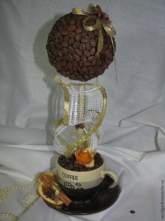 Топиарии ручной работы. Ярмарка Мастеров - ручная работа. Купить Кофейный топиарий.. Handmade. Кофе, тесьма, роза, золото, кофе
