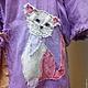 """Верхняя одежда ручной работы. Плащ из вареного льна """" Коты 2.4"""". Реелика (reelika44). Ярмарка Мастеров."""