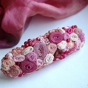 """Украшения ручной работы. Ярмарка Мастеров - ручная работа заколка-автомат """"Розовый сад"""" с агатами. Handmade."""