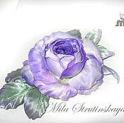 Украшения ручной работы. Ярмарка Мастеров - ручная работа Роза из шелка. Украшение брошь. Фиолетовая роза.Цветы из шелка. Handmade.
