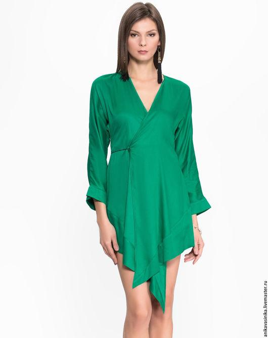 Платья ручной работы. Ярмарка Мастеров - ручная работа. Купить изумрудное платье. Handmade. Зеленый, платье на заказ, платье повседневное
