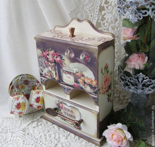 """Кухня ручной работы. Ярмарка Мастеров - ручная работа. Купить Чайный домик """"Английские розы"""". Handmade. Бежевый, розы"""