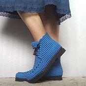Обувь ручной работы. Ярмарка Мастеров - ручная работа Ботинки вязаные со шнуровкой, синий,хлопок. Handmade.