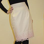 Одежда ручной работы. Ярмарка Мастеров - ручная работа Молочная юбка-карандаш с завышенной талией. Handmade.
