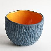 """Посуда ручной работы. Ярмарка Мастеров - ручная работа Пиала """"Замшевая"""" синий апельсин. Handmade."""