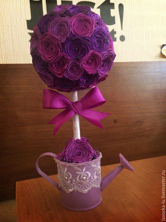 """Топиарии ручной работы. Ярмарка Мастеров - ручная работа. Купить Топиарий - """"Violetta"""". Handmade. Фиолетовый, атласные ленты, лейка, бантик"""