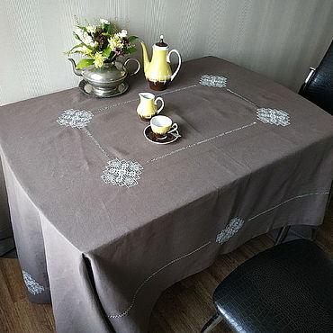 Текстиль ручной работы. Ярмарка Мастеров - ручная работа Скатерть  лён кофе с молоком 8 кубанцов (+салфетки по желанию). Handmade.