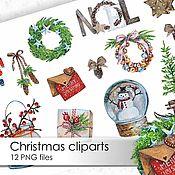 Шаблоны для печати ручной работы. Ярмарка Мастеров - ручная работа Клипарты Рождество, набор из 12 PNG файлов. Handmade.