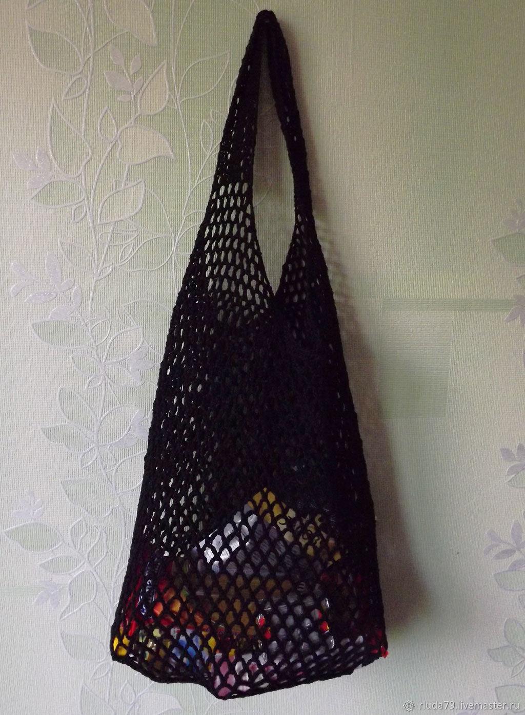 Авоська вязаная крючком для покупок продуктов экосумка черная белая