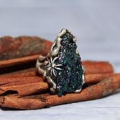 Украшения handmade. Livemaster - original item 925 sterling silver ring with untreated flint and spider. Handmade.