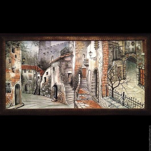 Город ручной работы. Ярмарка Мастеров - ручная работа. Купить Параллельный город. Handmade. Город, картина, фантазия, декоративный элемент
