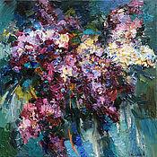 Картины и панно handmade. Livemaster - original item Lilac bouquet - 70 x 70 cm - Original oil painting. Handmade.