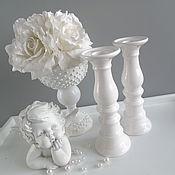 Винтаж ручной работы. Ярмарка Мастеров - ручная работа Подсвечники  пара лакруа керамика шебби. Handmade.