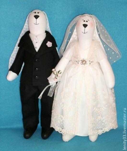 Игрушки животные, ручной работы. Ярмарка Мастеров - ручная работа. Купить свадебная пара. Handmade. Белый, свадьба, молочный, кружево