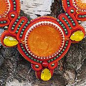Украшения ручной работы. Ярмарка Мастеров - ручная работа Колье и серьги солнечного цвета. Handmade.