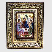 Иконы ручной работы. Ярмарка Мастеров - ручная работа Икона финифть Святая Троица. Handmade.