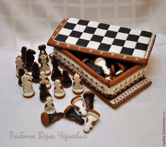 Кулинарные сувениры ручной работы. Ярмарка Мастеров - ручная работа. Купить Шахматы - пряничная шкатулка. Handmade. Пряник, чёрно-белый