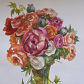 """Картины и панно ручной работы. Ярмарка Мастеров - ручная работа Акварель """"Букет"""". Handmade."""